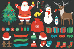 Рождество установленное с элементами украшения вычерченная рука вектор Стоковое Изображение