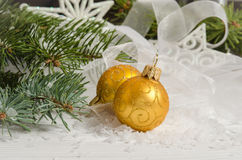 рождество 2 шариков Украшение праздника Стоковые Фотографии RF