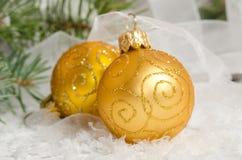 рождество 2 шариков Украшение праздника Стоковое Фото