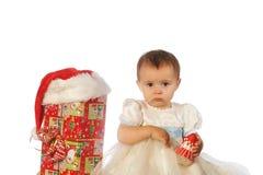 Рождество ягнится портрет в студии на белой предпосылке Стоковая Фотография RF