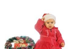 Рождество ягнится портрет в студии на белой предпосылке Стоковое фото RF