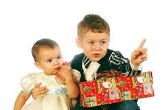 Рождество ягнится портрет в студии на белой предпосылке Стоковые Изображения RF