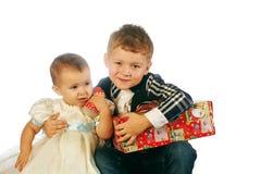 Рождество ягнится портрет в студии на белой предпосылке Стоковые Фотографии RF
