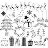 Рождество Doodles собрания Стоковая Фотография RF