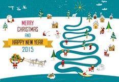 Рождество 2015_english Нового Года Skimos Стоковое Изображение