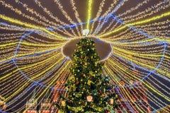 рождество moscow Ель рождества на nea квадрата Manezhnaya Стоковая Фотография RF