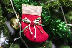 Рождество socks смертная казнь через повешение на дереве Chrismas стоковая фотография rf