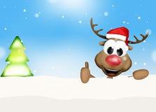 Рождество Thumbs вверх по ландшафту зимы северного оленя Стоковая Фотография