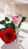 Роза и стекло Стоковые Изображения
