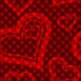 роза красного цвета картины сердца безшовная Стоковые Изображения