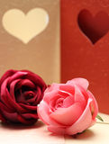 Роза на картине поздравительной открытки сердца для валентинки и симпатичный Стоковые Фото