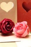 Роза на картине поздравительной открытки сердца для валентинки и симпатичный Стоковые Изображения