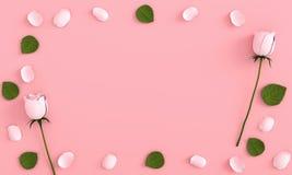 Роза на розовом backgroud для модель-макета, перевода 3D бесплатная иллюстрация
