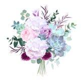 Роза пинка, белая гортензия, фиолетовая гвоздика, темная орхидея, succu иллюстрация штока