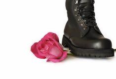 Роза пинка под ботинком Стоковое Изображение
