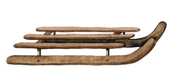 Розвальни акварели коричневые деревянные бесплатная иллюстрация