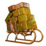 Розвальни с подарками на рождество Стоковое Изображение