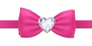 Розовая бабочка с фибулой диаманта сердца Стоковое фото RF