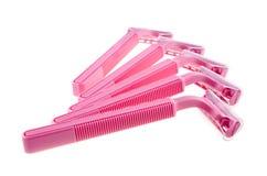 розовая безопасность бритв стоковые изображения rf