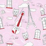 Розовая безшовная картина с музыкой и городом Стоковые Изображения
