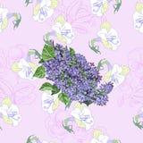 Розовая безшовная картина с сиренью и цветками иллюстрация штока