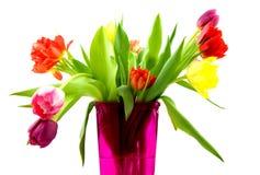 розовая ваза тюльпанов Стоковое Фото