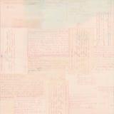 Розовая винтажная предпосылка ephemera текста открытки стоковое изображение rf