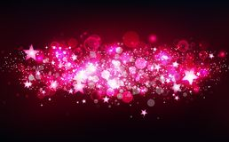 Розовая волшебная стрельба играет главные роли движение, фантазия, звезды разбрасывает confetti, пыль, накаляя частицы запачкает  иллюстрация вектора