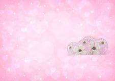 Розовая влюбленность сердца на предпосылке bokeh сердца Стоковое фото RF