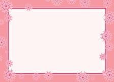 Розовая граница рамки вектора снежинки иллюстрация штока