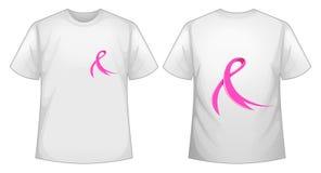 Розовая лента на белых фронте и задней части футболки иллюстрация вектора