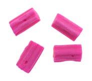 Розовая жевательная резинка на белой предпосылке Стоковая Фотография RF