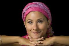 розовая женщина тюрбана стоковые изображения