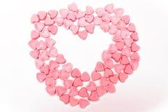 Розовая изолированная конфета сердец Стоковая Фотография