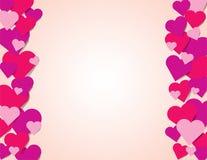 Розовая иллюстрация предпосылки границы красных и фиолетовых сердец Стоковое Фото