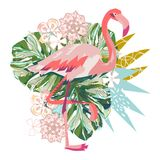 Розовая иллюстрация фламинго изолированная на белой предпосылке Стоковые Изображения