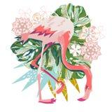 Розовая иллюстрация фламинго изолированная на белой предпосылке Стоковая Фотография