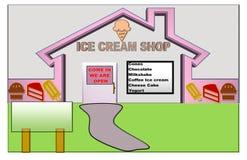 Розовая и белая иллюстрация местного магазина мороженого с космосом для рекламы иллюстрация штока