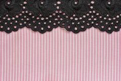 Розовая и белая джинсовая ткань с шнурком Стоковая Фотография