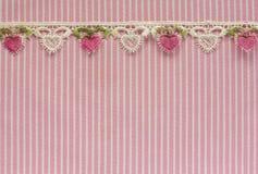 Розовая и белая джинсовая ткань с шнурком Стоковые Фотографии RF
