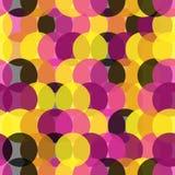 Розовая картина с желтым цветом и blck круглое Иллюстрация штока