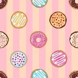 Розовая картина donuts иллюстрация вектора