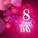 Розовая карточка дня ` s женщин с bokeh освещает иллюстрация штока