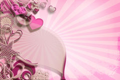 Розовая карточка сердец, ретро Стоковое Фото