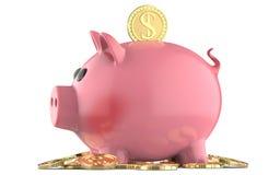 Розовая копилка свиньи, при монетка падая в шлиц, на куче долларов 3D представляют, изолированный на белой предпосылке Стоковые Изображения RF