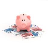 Розовая копилка на счетах евро Стоковое Изображение