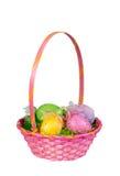 Розовая корзина пасхального яйца Стоковое фото RF