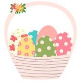 Розовая корзина пасхи с покрашенными яичками Иллюстрация штока