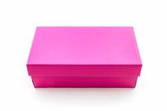 Розовая коробка ботинка на белой предпосылке с путем клиппирования Стоковая Фотография