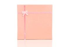 Розовая коробка подарка Стоковое Фото
